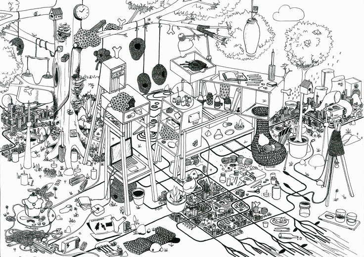 """Drawing realized on A4 format for a school project. Representing my """" design landscape """" or fantasy trough design products. An environment composed of my own projects and little elements that are part of it in its meaning / story-telling. August 2012"""