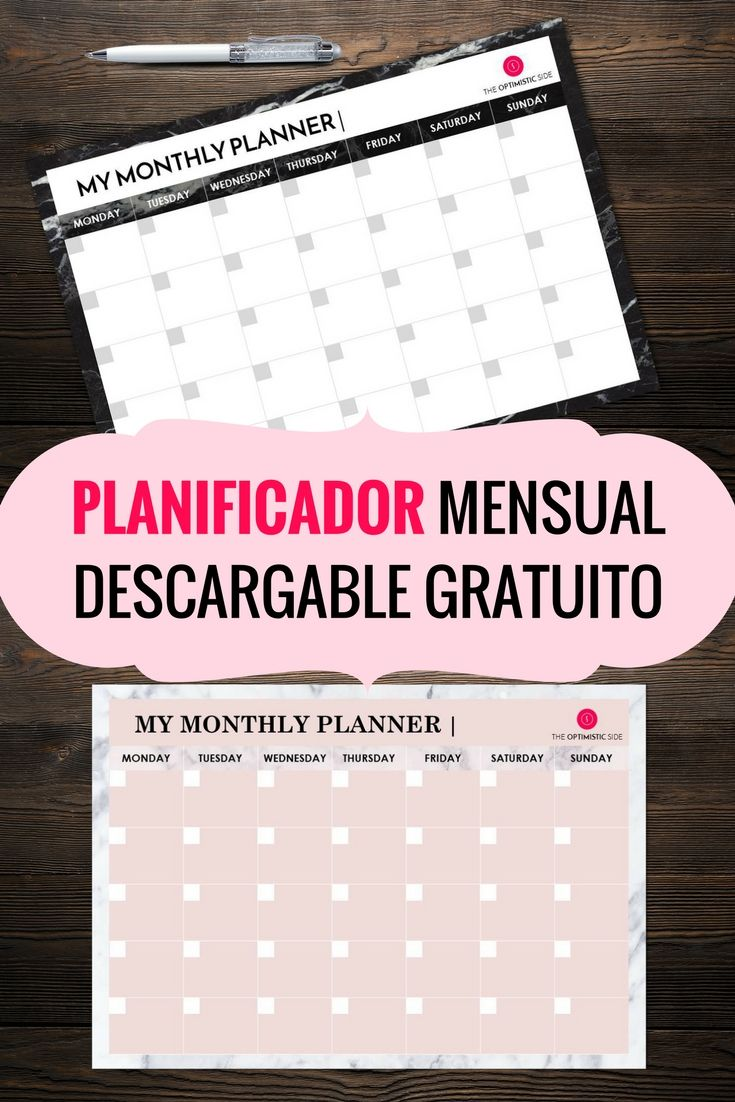 Planificador mensual descargable gratuito de mármol blanco y negro y rosa: planner printable personalizable to downoald pdf