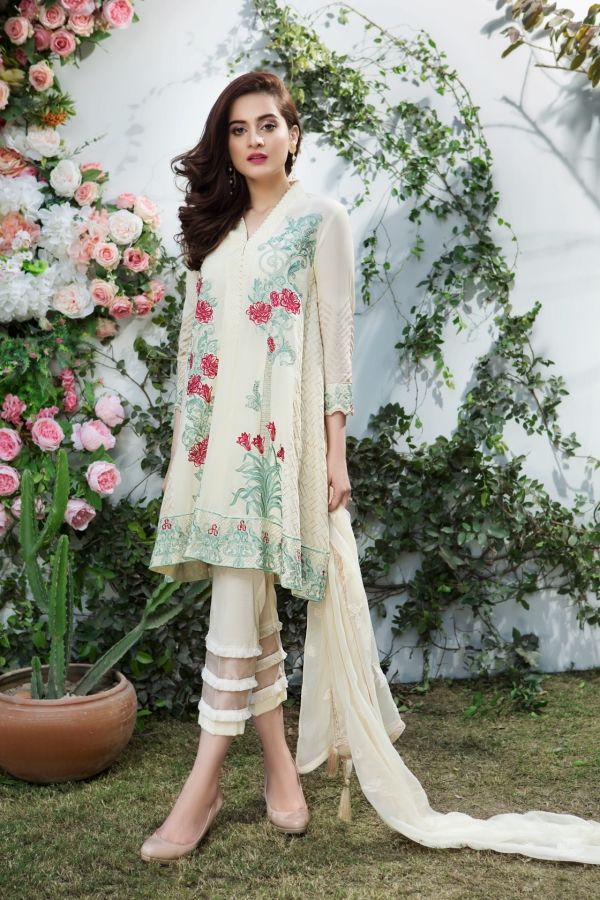 4998e9605f Beautiful white 3 piece unstitched dress by Imrozia premium Embroidered  online 2018 | Danish Abbasi | Dresses, Pakistani dresses, Indian dresses