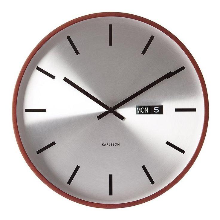 Karlsson Wall Clock Steel Face Wooden Frame - 38cm