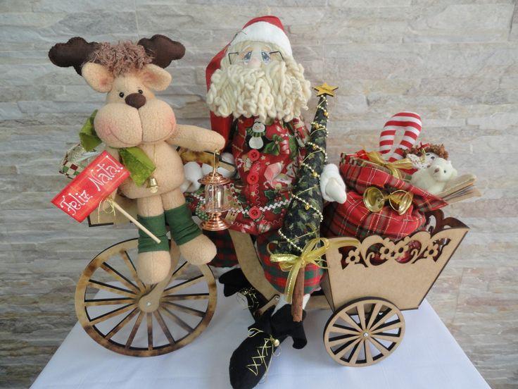 Papai Noel no triciclo   Magiarte Artesanato   Elo7