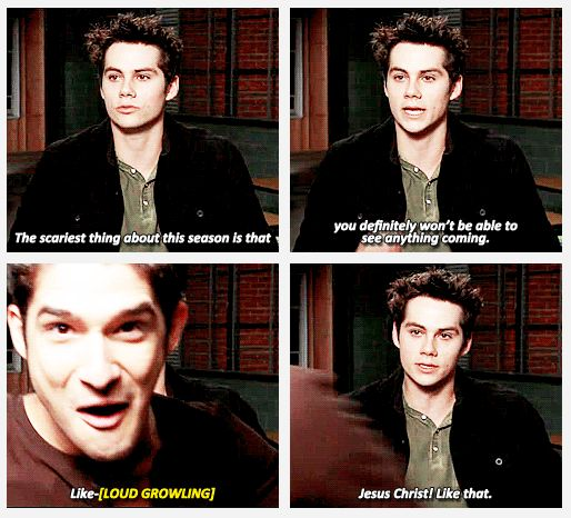 Dylan O Brien and Tyler Posey (you can tell they were doing a void stiles scene before this interview by Dylan's hair)