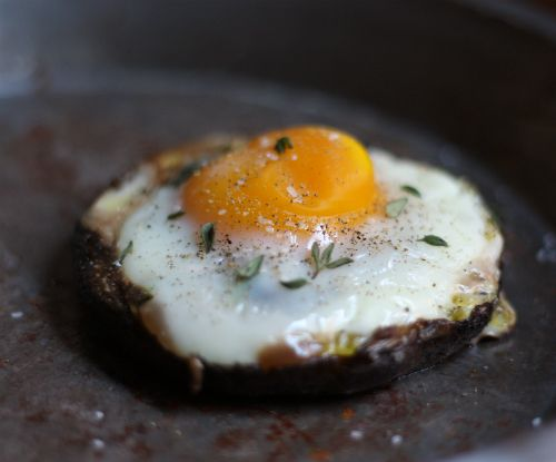 Egg stuffed portabello mushroom; sounds yummy and low carb.