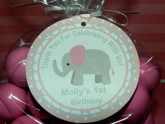 Pink Elephant Birthday-Elephant Birthday Favor Tag, Elephant Birthday Party Decorations, Invitations, toppers And More on Etsy, $8.00