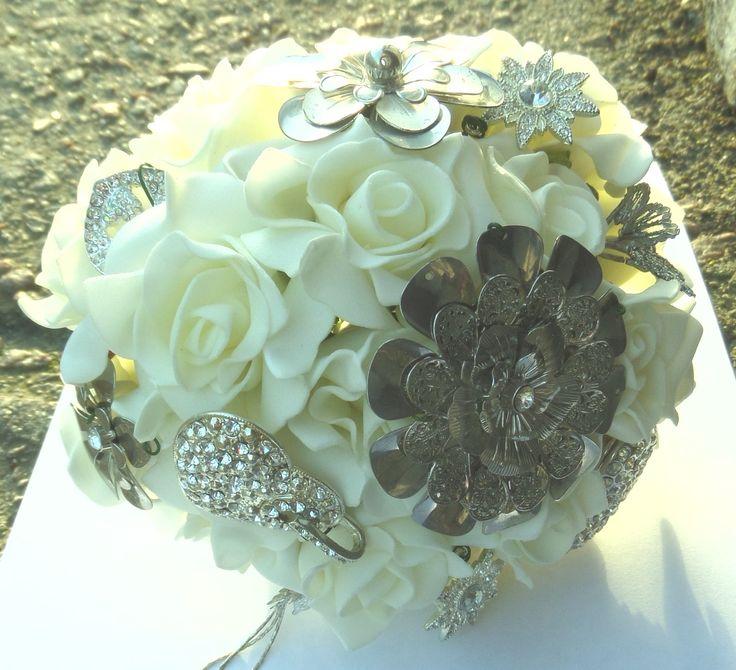 Bouquet from foam flowers and jewellery. www.facebook.com/ieshasattic