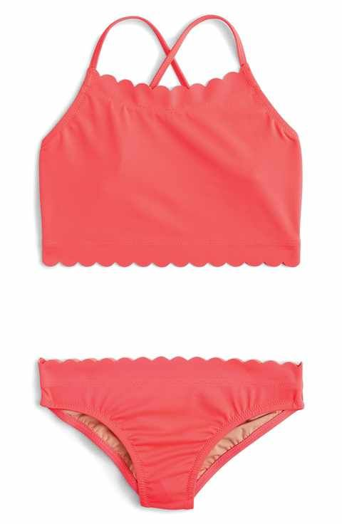 511093958a crewcuts by J. Crew Scalloped Two-Piece Swimsuit (Toddler Girls, Little  Girls & Big Girls)
