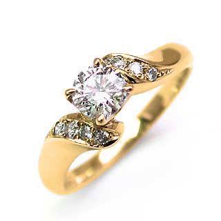 婚約指輪 ダイヤモンド ダイヤ リング エンゲージリング K18イエローゴールドVVS1クラス 0.30ct 鑑定書付