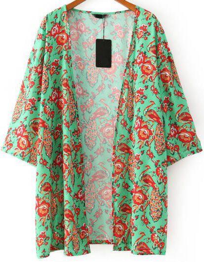 Kimono suelto floral manga larga-verde 14.72