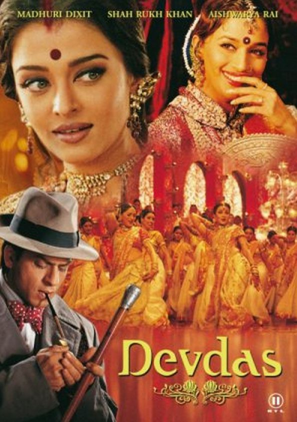 Devdas (2002) Poster. Directed by Sanjay Leela Bhansali. Starring the beautiful Madhuri Dixit and Aishwariya Rai http://www.lisaeldridge.com/video/25895/100-years-of-bollywood-modern-day-devdas-inspired-makeup-look/ #Makeup #Beauty #Bollywood