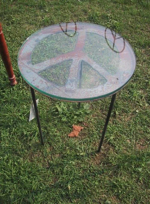handmade steel peace sign table barrowpeace signsgarden furniturewood