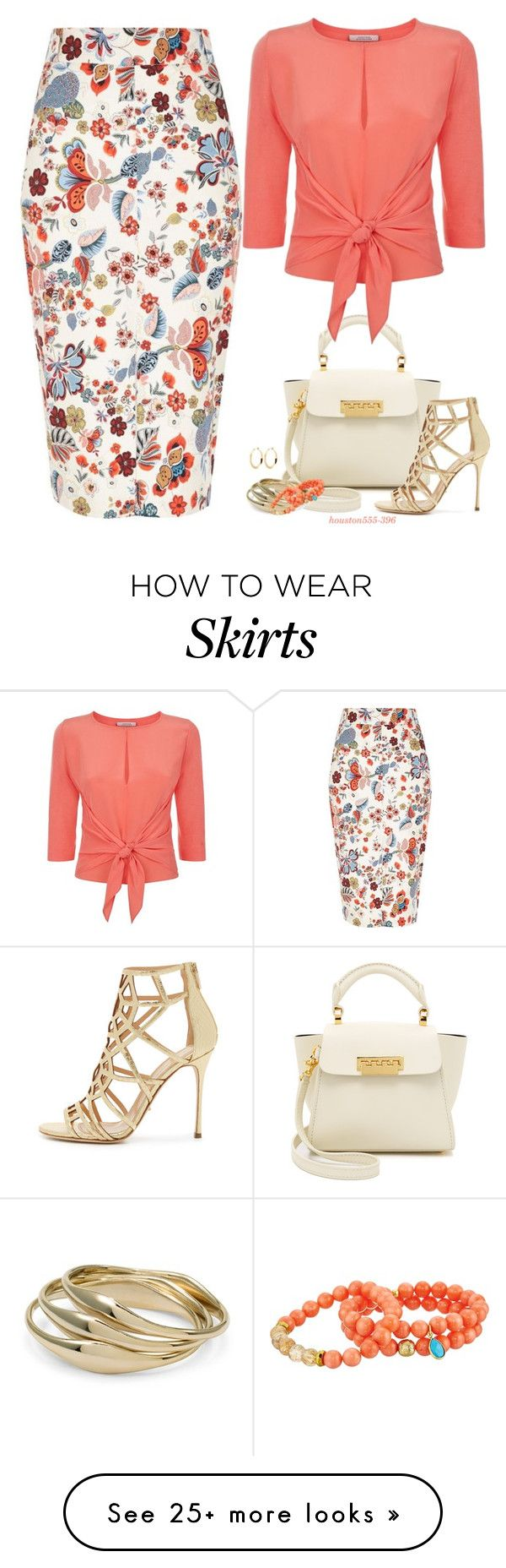 """Floral Pencil Skirt"" by houston555-396 on Polyvore featuring River Island, ZAC Zac Posen, Dorothee Schumacher, Chico's, Dee Berkley and Sergio Rossi"