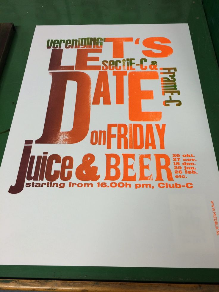 Gradient print poster to annonce an informal drink at Sectie-C where my printshop is