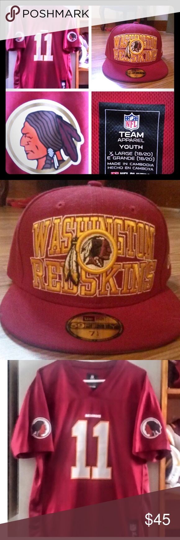 WORN ONCE/WASHINGTON INDIANS HAT AND JERSEY GREAT CONDITION NFL Matching Sets