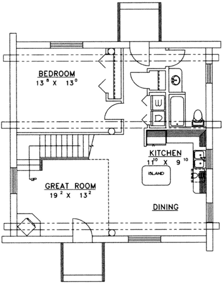 Mother in law suite small space floor plans pinterest for Mother in law cottage log cabin