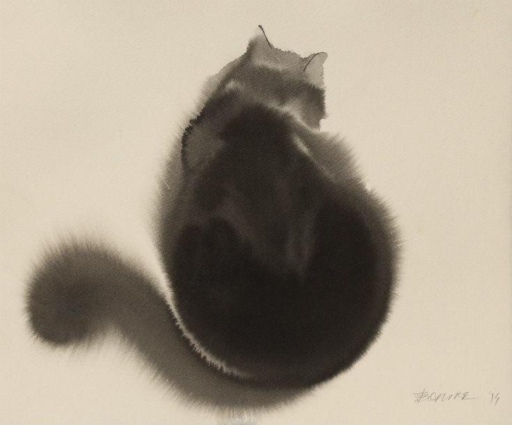 Endre Penovác e a sua versão aquarelada de gatos pretos