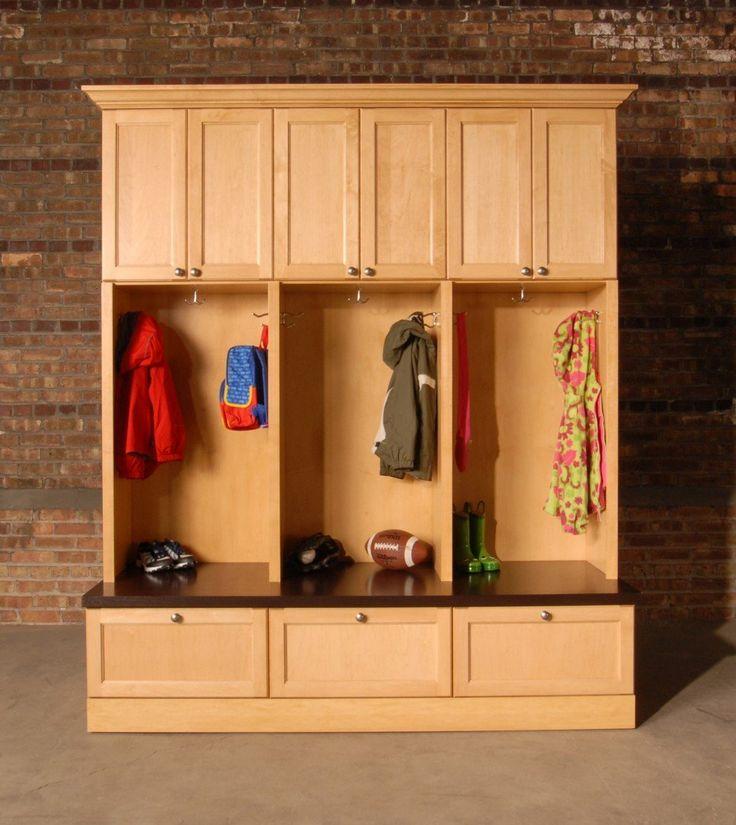 Furniture, Custom DIY Mudroom Cubby Design With Locker
