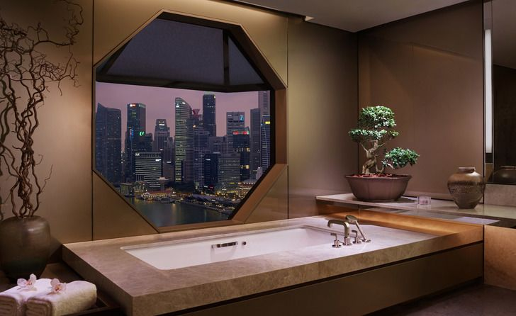 The bathroom of the Ritz Suite, on the 32nd floor of the Ritz-Carlton Millenia…