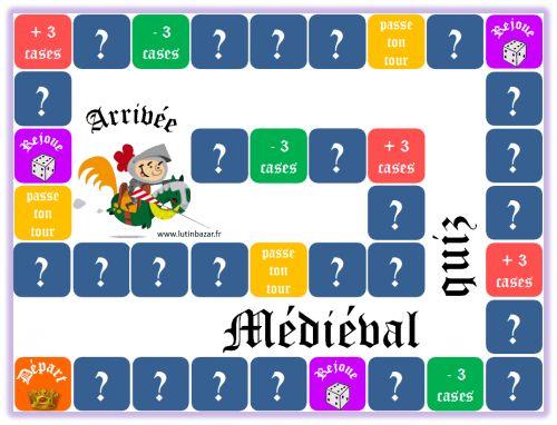 Ce jeu permet de réviser les notions-clés du programme d'histoire sur le Moyen Age. Les cases marquées d'un point d'interrogation invitent à répondre aux questions des cartes.