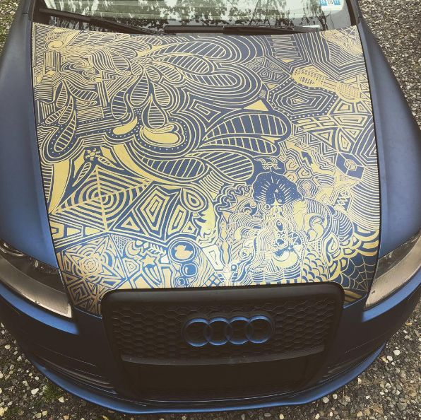 Diphead Sean used permanent marker on Plasti Dip to make this crazy cool pattern. Share your own creative designs with #DipheadsUnite and we might feature you next!