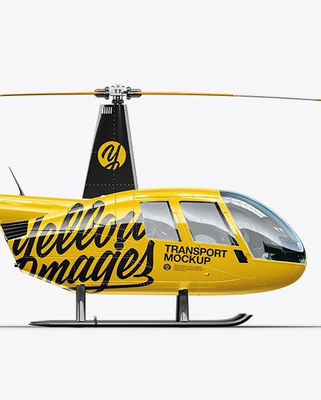 Robinson R44 Raven Helicopter Mockup – Side View