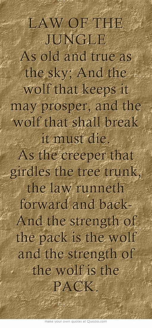 LAW OF THE JUNGLE As old and true as the sky; And the wolf that keeps it may prosper, and the wolf that shall break it must die. As the creeper that girdles the tree trunk, the law runneth forward and back- And the strength of the pack is the wolf and the strength of the wolf is the PACK.