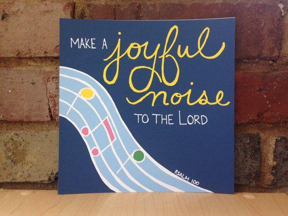 "Bible Verse Square Print - Psalm 100 - ""Make a joyful ..."