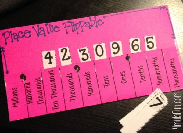 Place Value Flippable for Modeling, Comparing and Ordering with Whole Numbers and Decimals