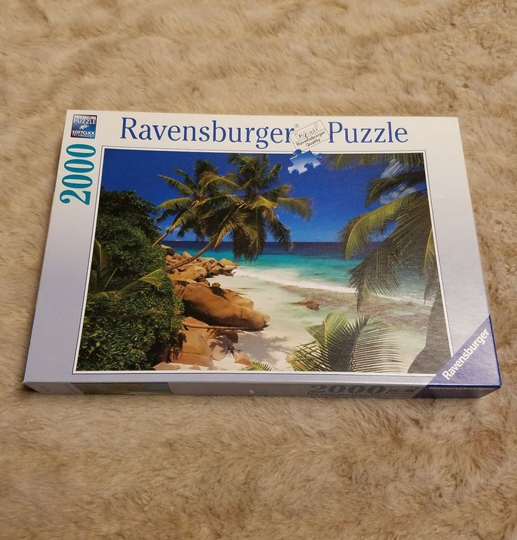 Ravensburger Puzzle 2000 Piece Beach Palm Tree Ocean No 81 3667 #Ravensburger