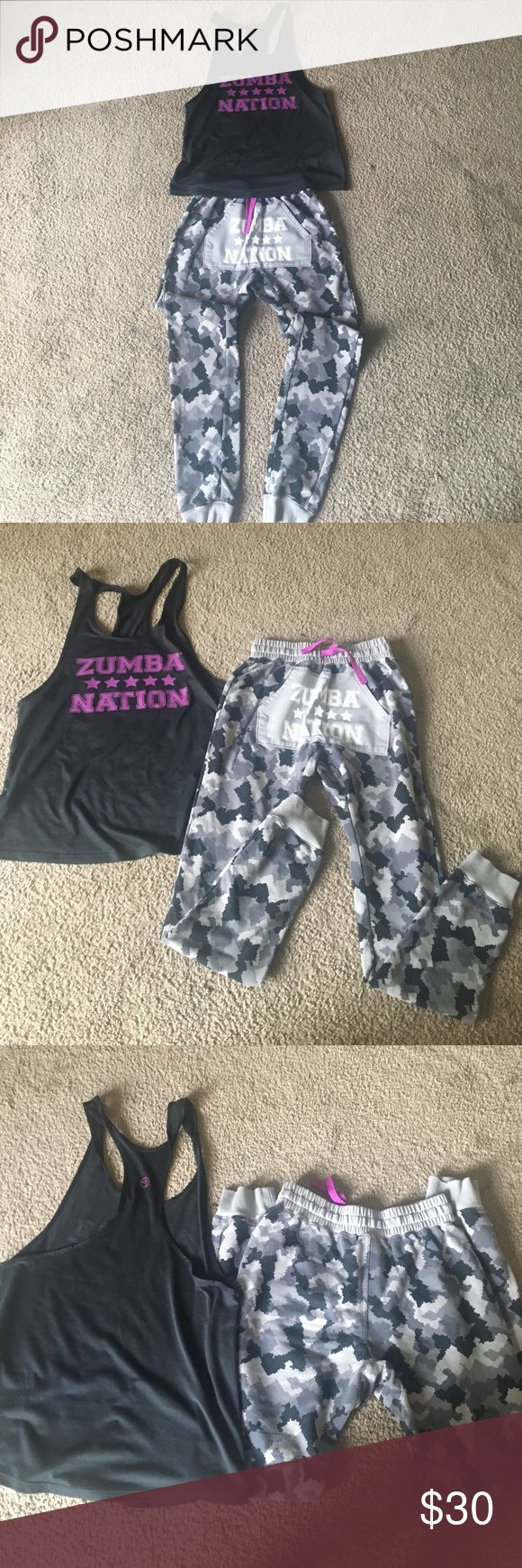 zumba outfit -Xs camo sweatpants(loose fit), Small zumba nation tank could fit xs as well, each like new worn once! zumba Pants Straight Leg