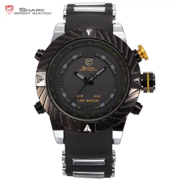 Luxury Brand Goblin Shark Sport Watch Men Relogio Masculino 3D Design Silicone Band LED Digital Black Quartz Mens Watches /SH168