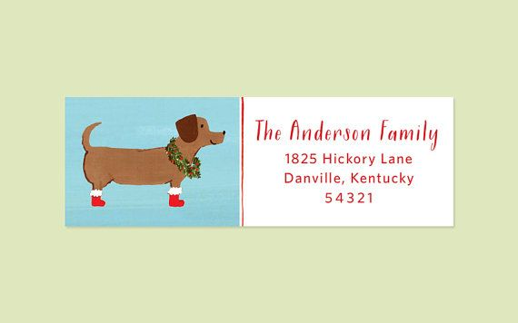 These Dachshund Holiday Return Address Labels are a fun and cute way to address your holiday cards this year. The labels feature a hand-painted