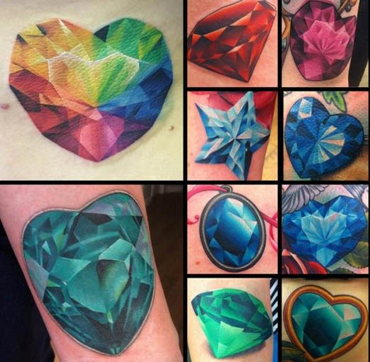 "In 1961, Shirley Bassey sang the words ""Diamonds are Forever"" to go along with the James Bond installment of the same name. And you know what else is forever? Tattoos! Gemstones—from Marilyn's clas..."
