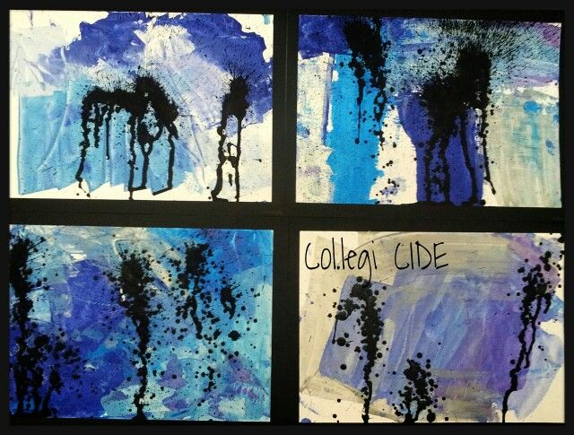 Pintam amb polveritzador sobre fons fet amb targetes i témpera. 5 anys.