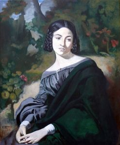 Patrice Lannoy, realistic painting, figurative, portrait, reproduction Thomas Couture, Widow, paintings on canvas