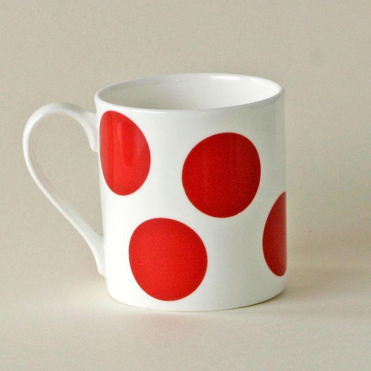 Bone China Spotty Mug - Red