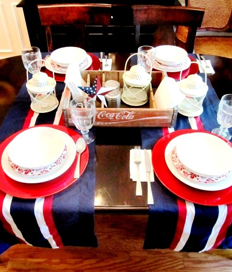 table runners, window valances as table runners (found these for .77 cents at the thrift store!) a festive table does not need to cost a lot, Flag day, 4th of July themed tablescape