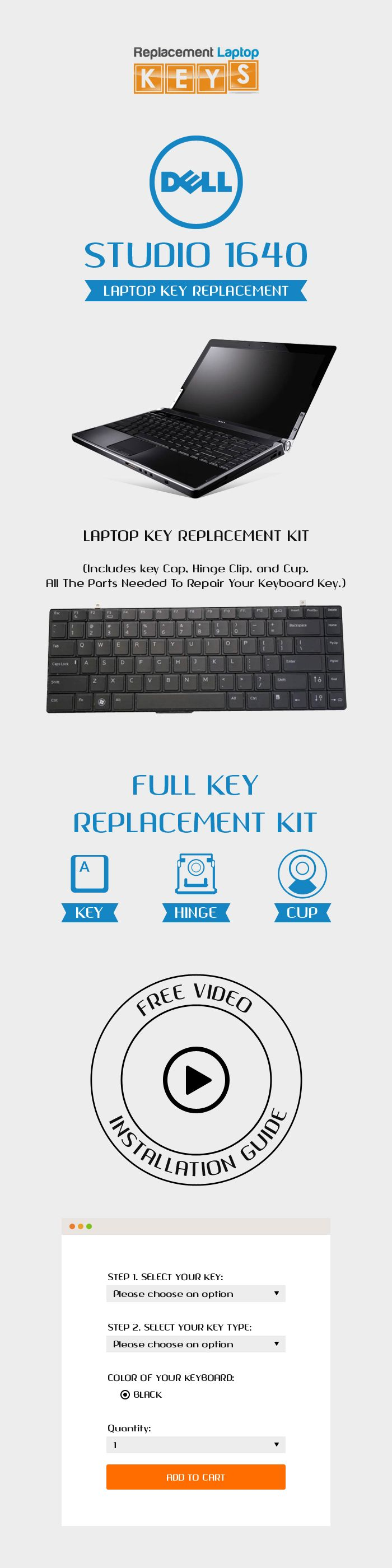 Replacement Laptop Keys is a leading online store of laptop keys, offers quality replacement keys for your Dell Studio 1640 Laptop. Here, you can buy with confidence because we provide fast delivery and secure shipping to our customer. http://www.replacementlaptopkeys.com/dell-studio-1640-laptop-key-replacement/