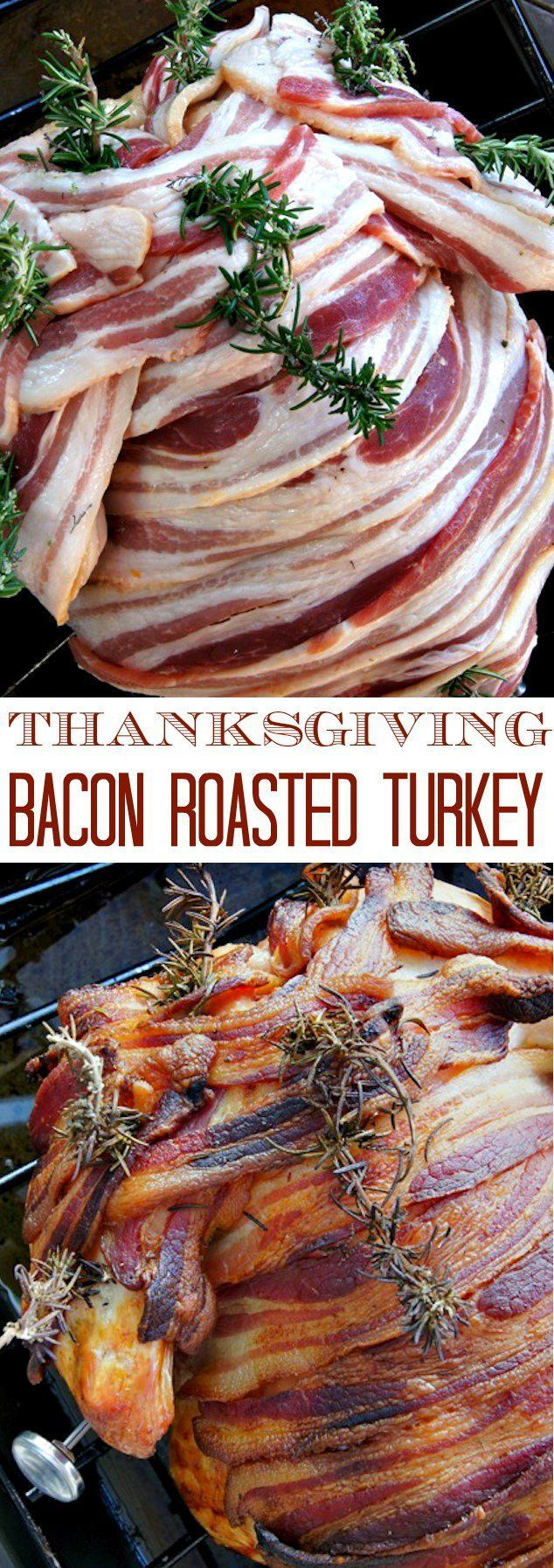 Smokey Paprika-Bacon Roasted Turkey (Every Recipe You Need For A Thanksgiving Feast!)- Brined whole roasted turkey covered with a super flavorful compound butter and wrapped in bacon!!