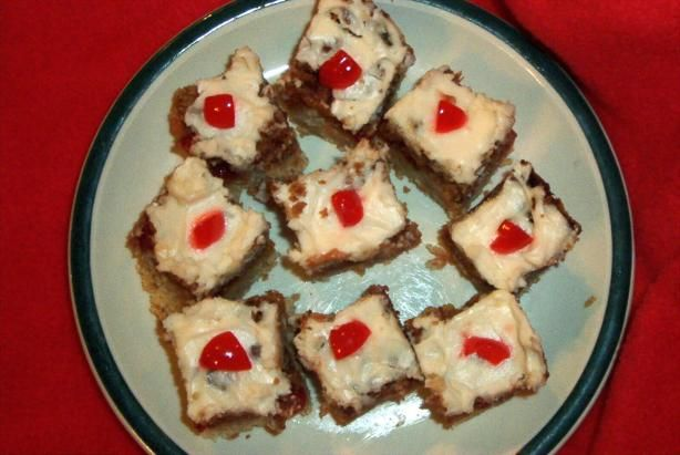 Cherry Squares from Food.com:   								This is my favourite bar-type cookie from Company's Coming! After you've tried it, you'll understand why.