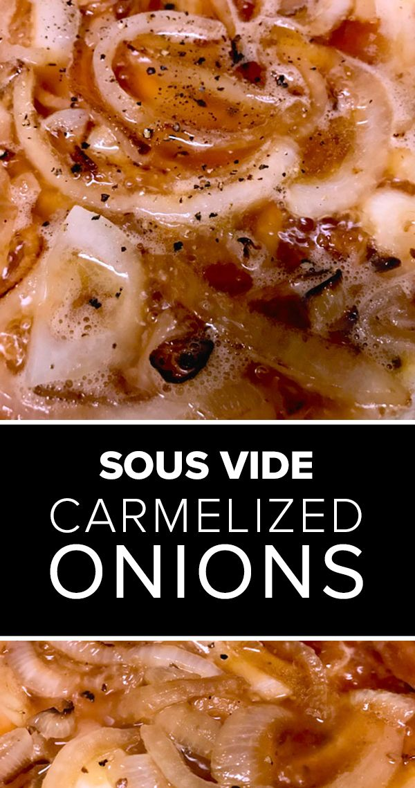 YUMMMMY sous vide style onions! This recipe for caramelized sous vide onions in beer adds bold flavor to pasta dishes, sandwiches, pizzas, sauces. Its a delicious, slow cooked vegetarian dish for game day. And it tastes great on all Football season recipes like sausages, pulled pork sandwiches, and more. See how to make this highly addictive vegetarian sous vide recipe... #sousvide #onions #gameday