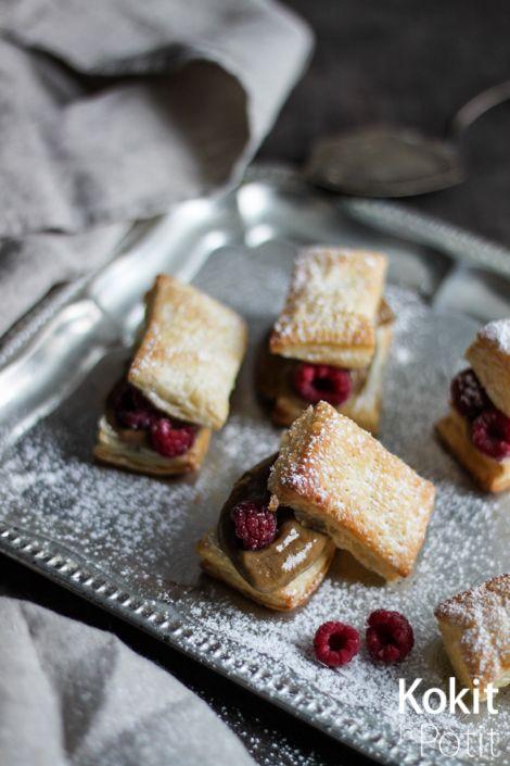 Mokka Millefeuille - Millefeuille with coffee filling and rasberries (in Finnish) | Kokit ja Potit -ruokablogi