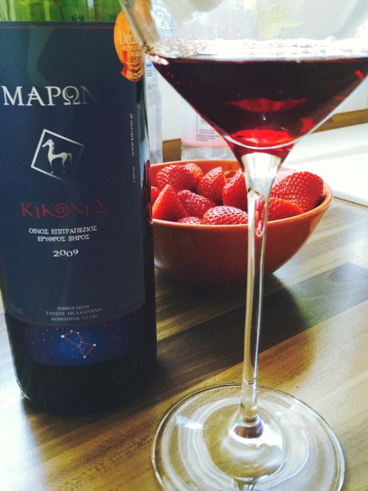 """Summer noons need KIKONES Maron 2009! A perfect red wine made in Sangiovese grapes, by boutique winery KIKONES in Thrace/GREECE .Sangiovese is a red Italian wine grape variety that derives its name from the Latin sanguis Jovis, """"the blood of Jove"""". #Sangiovese  #kikones #plum #blackcherry #violet #redwine #winelovers #summerwine"""