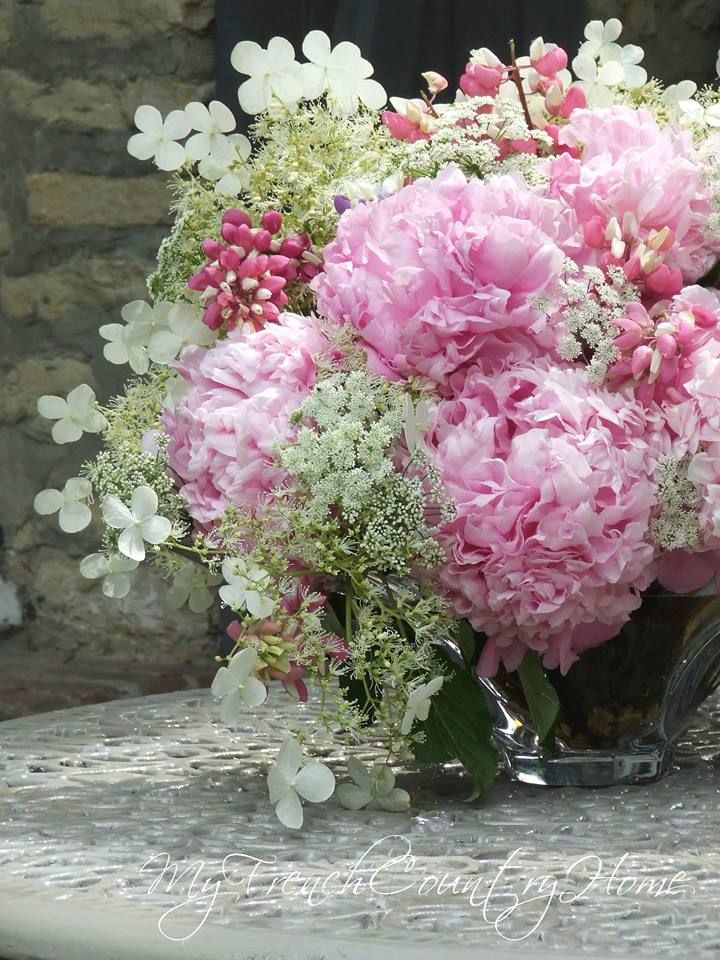 My French Country Home peonies , cow parsley, climbing hydrangea and pink lupins