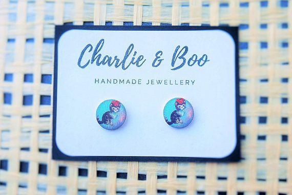 Stainless Steel 12mm Printed Wood Stud Earrings Cute Kitten Stud Earrings Australian Handmade Small Business Charlie and Boo