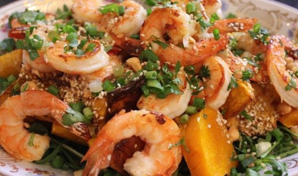 Dukkah Spiced Butternut and Prawn Salad : Food : The Home Channel