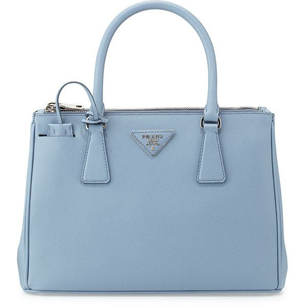 Prada Saffiano Lux Double-Zip Tote Bag ($2,100) ❤ liked on Polyvore featuring bags, handbags, tote bags, light blue, blue leather tote, light blue handbags, blue leather handbag, leather handbags and detachable key ring