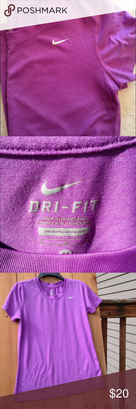 Nike dri fit Women's tee Condition Like New! Women's size Med Nike dri-fit tee in purple. Super cute and in great condition without any defects. Nike Tops Tees - Short Sleeve