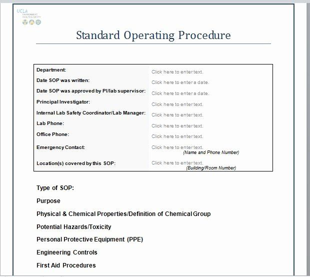 Procedures Template Microsoft Word In 2020 Standard Operating