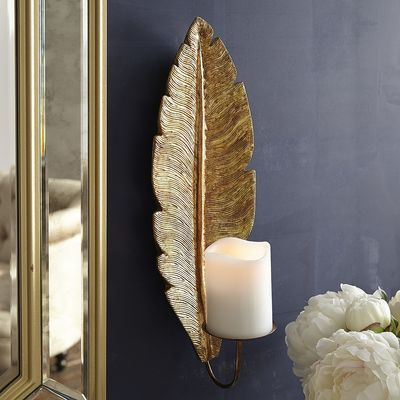 Gold Feather Candle Wall Sconce
