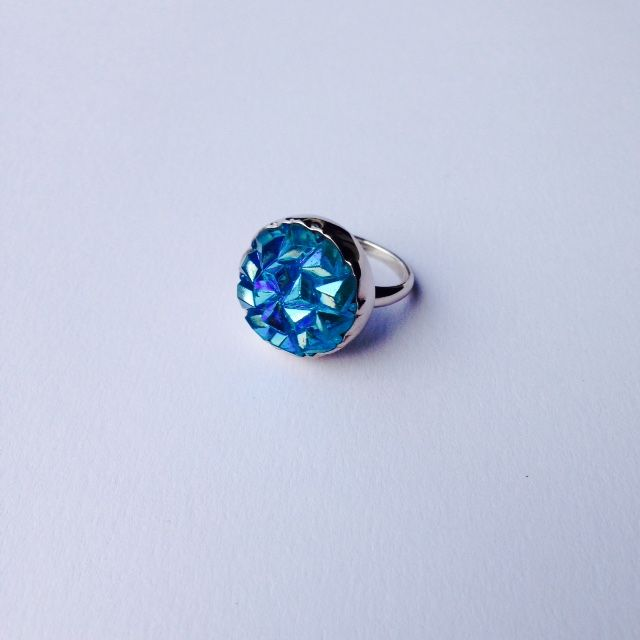 Ring: Antique Glass Button, Sterling Silver, by Alison Blain